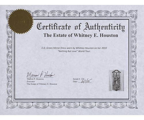 whitney houston worn clothing coa