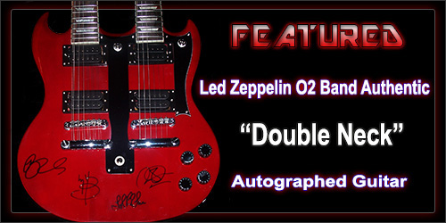 led zeppelin signed double neck guitar